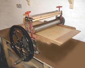 convert an old mangle into a printing press